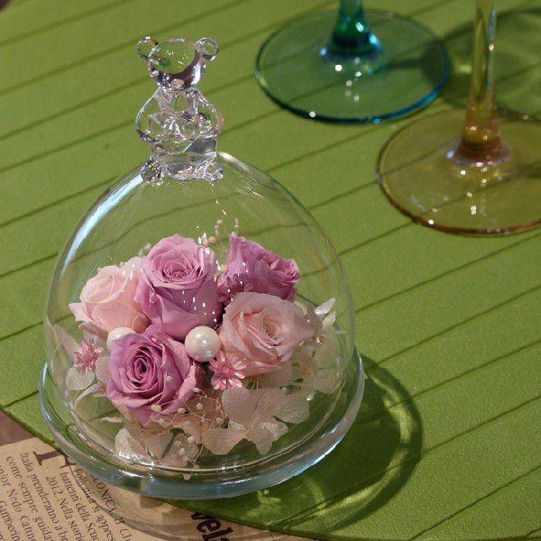 ベアグラス(ガラスドーム)・クリスタルピンク 誕生日プレゼント 女性 結婚祝い 結婚記念日 ブリザードフラワー 新築祝い お祝い プリザ